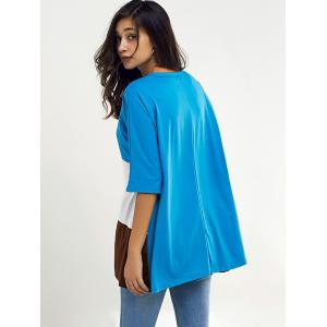 Color Block Loose Half Sleeve T Shirt -
