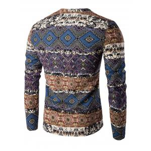 V-Neck Color Block Spliced Ethnic Style Pattern Long Sleeve T-Shirt For Men - DEEP BLUE 2XL