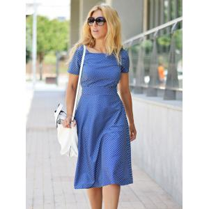 Vintage Polka Dot Printed Belted Midi Dress For Women -