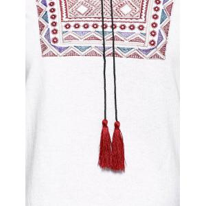 Ethnic Women's Short Sleeve Fringed Linen Blouse -