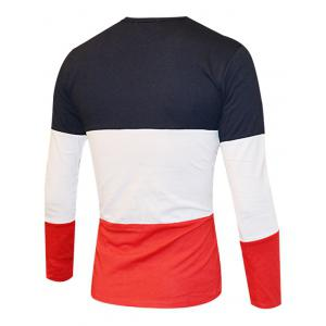 Color Splicing Round Neck Long Sleeve T-Shirt For Men - BLACK AND WHITE AND RED 2XL