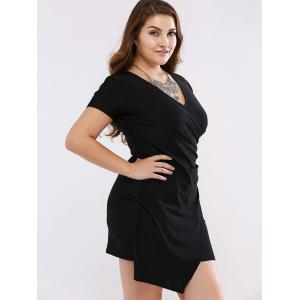 Plus Size Chic Shirred Asymmetrical Black Dress - BLACK 4XL