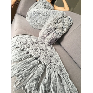 Stylish Knitted Scale and Tassels Design Mermaid Tail Shape Blanket -