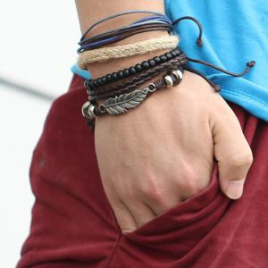 A Suit of Vintage Faux Leather Beads Feather Bracelets For Men -