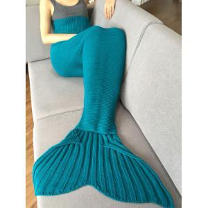 Stylish Solid Color Knitted Mermaid Tail Design Blankets For Adult - TURQUOISE