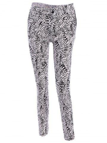 Buy Simple Buttoned Leaf Print Pants For Women