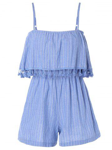 Cheap Stylish Tassel Stripe Adjustable Strap Romper For Women
