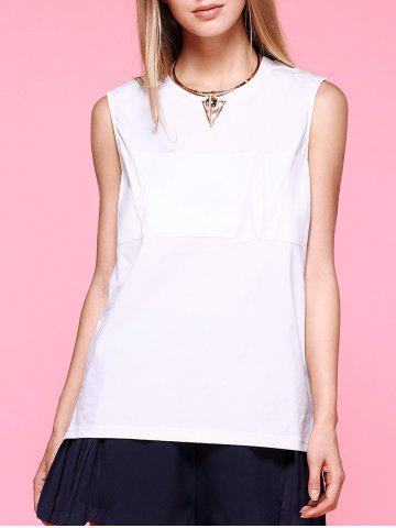 New Brief High Low Side Slit White Tank Top For Women