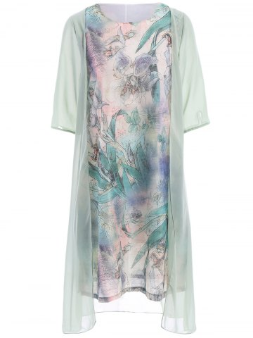Ladylike Scoop Neck 3/4 Sleeve Floral Print Faux Twinset See-Through Dress For Women - Light Green - 3xl