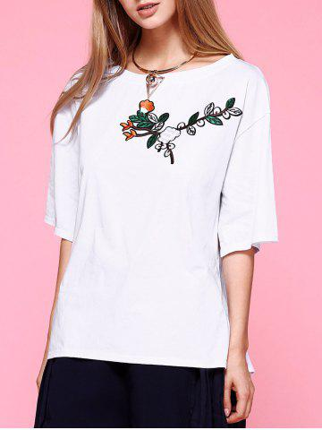 Shop Slit Sleeve Embroidery T-Shirt