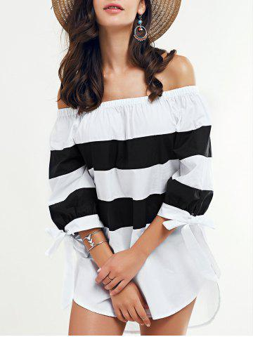 Chic Off-The-Shouder Striped Blouse