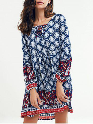 Online Tribal Printed Lace Up Long Sleeve Dress