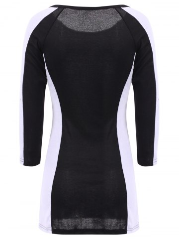 Trendy Stylish Scoop Neck Long Sleeves Color Splicing Dress For Women - XL AS THE PICTURE Mobile