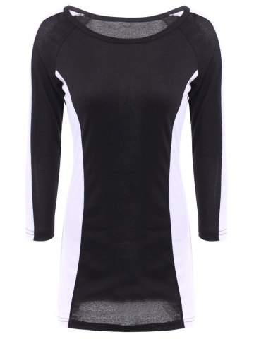 Fancy Stylish Scoop Neck Long Sleeves Color Splicing Dress For Women - XL AS THE PICTURE Mobile