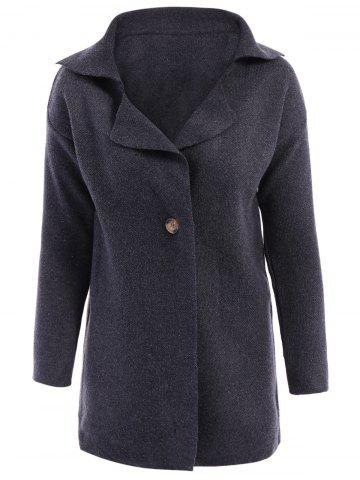 Trendy Casual Turn-Down Collar Loose-Fitting Solid Color Long Sleeve Women's Cardigan