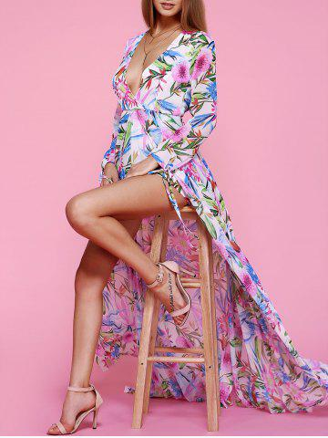 Online Charming Plunging Neck Floral Print High Slit Women's Dress