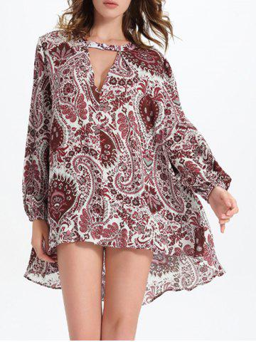 Fancy Long Sleeve Cut Out Jacquard Print Asymmetric Blouse