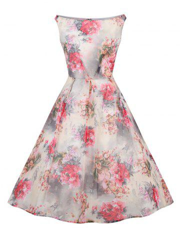 New Retro Slash Neck Floral Print Fit and Flare Dress