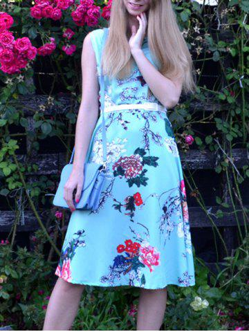 Fashion Vintage Style Jewel Neck Sleeveless Floral Print Belted Dress For Women