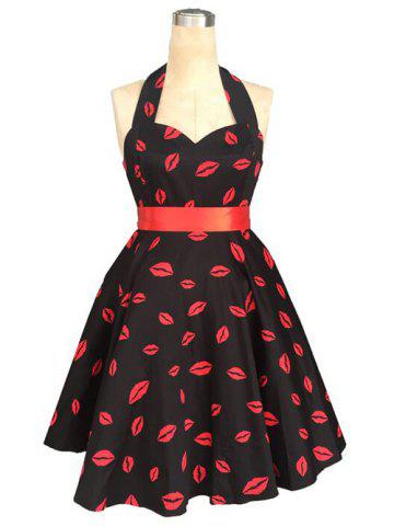 Unique Retro Style Halter High-Waisted Lip Print Women's Dress