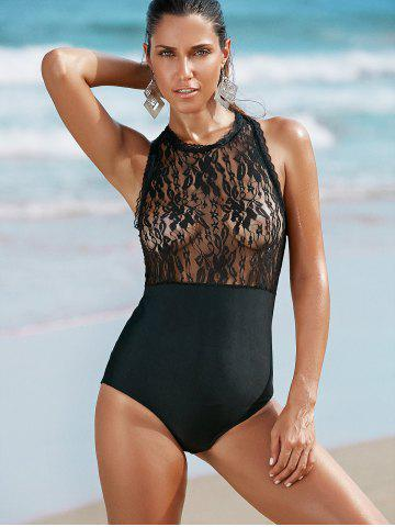 Sale Alluring Round Neck Lace Spliced One-Piece Swimwear