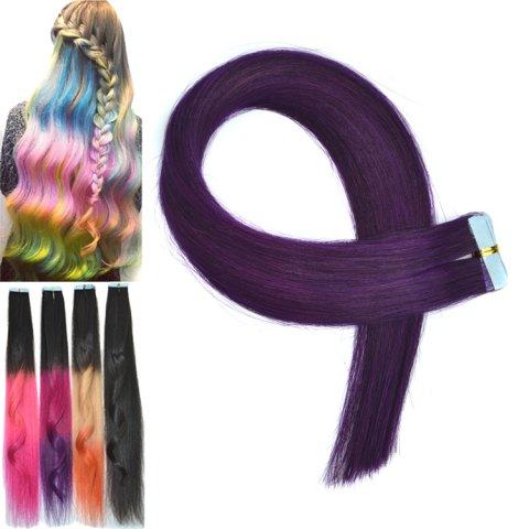 Outfits Fashion Colorful Traceless Long Straight Human Hair Extension For Women PURPLE