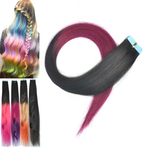 Outfits Fashion Colorful Traceless Long Straight Human Hair Extension For Women - BLACK AND ROSE RED  Mobile