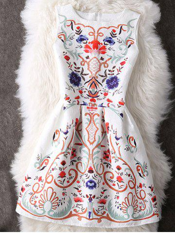 Shop Charming Round Neck Ornate Printed Women's Dress WHITE M