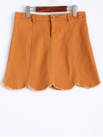 New Stylish Frayed Scalloped Women's Denim Skirt YELLOW M