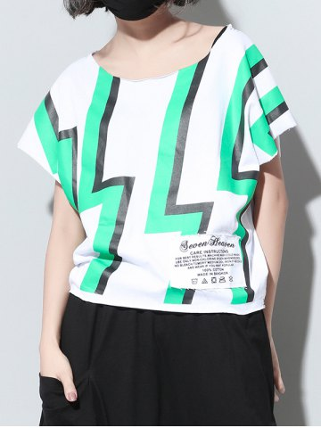 Trendy Brief Scoop Neck Zigzag Print Women's T-Shirt