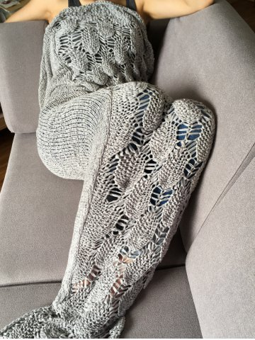 Best Stylish Knitted Scale and Tassels Design Mermaid Tail Shape Blanket GRAY
