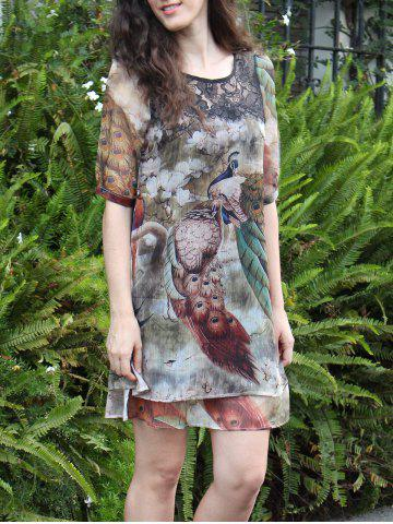Outfits Graceful Peacock Print Half Sleeve Dress