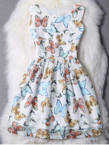 Shops Sleeveless Butterfly Pattern High Waist Dress