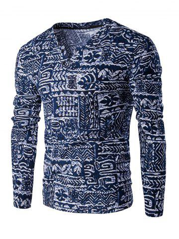 V-Neck Buttons Design Abstract Ethnic Style Pattern Long Sleeve T-Shirt For Men - Blue - M