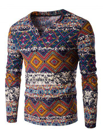 V-Neck Color Block Ethnic Style Pattern Long Sleeve T-Shirt For Men - Jacinth - M