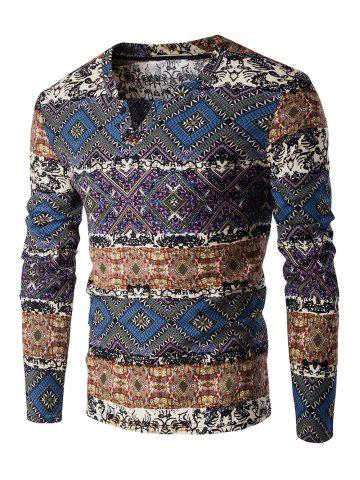 V-Neck Color Block Spliced Ethnic Style Pattern Long Sleeve T-Shirt For Men - Deep Blue - M