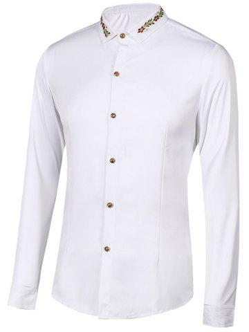 Unique Floral Embroidery Turn-Down Collar Long Sleeve Shirt For Men - 2XL WHITE Mobile