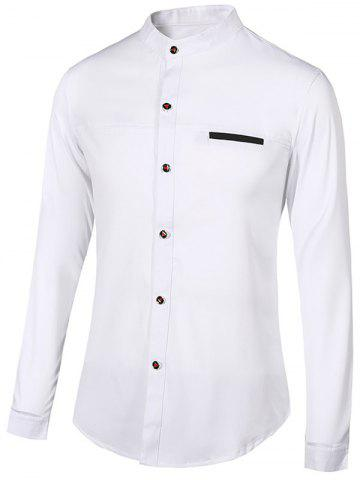 Affordable Edging Stand Collar Long Sleeve Shirt For Men