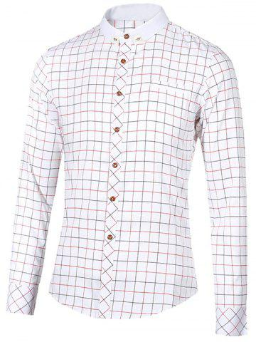 Outfit Checked Button-Down Stand Collar Long Sleeve Shirt For Men