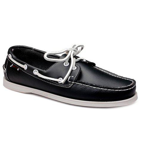 Stylish Tie Up and Stitching Design Casual Shoes For Men - BLACK - 40