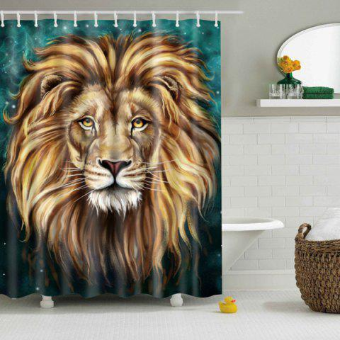 Waterproof Lion Rush Out Design Shower Curtain - GREEN / BROWN