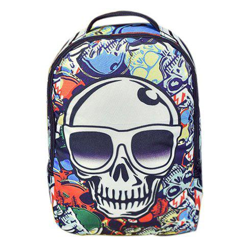 Fancy Trendy Color Splicing and Skull Pattern Design Backpack For Men - COLORMIX  Mobile
