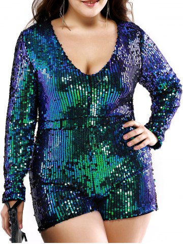 Buy Plus Size Stylish Plunging Neck Sequined Romper