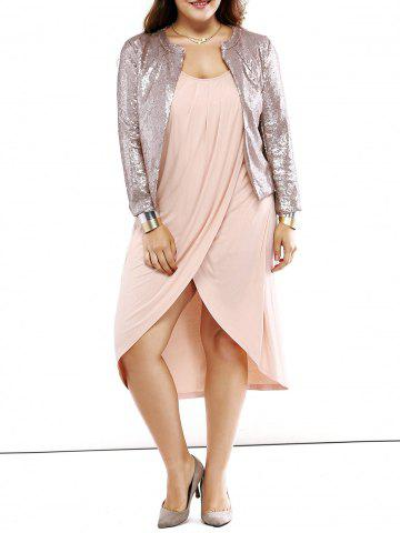 Outfit Plus Size Trendy Round Neck Sequined Short Blazer SILVER 4XL