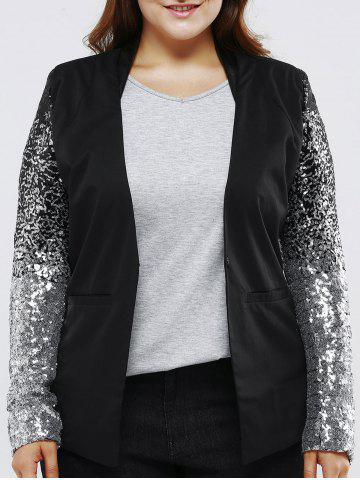 Latest Plus Size Chic Sequined Sleeve Blazer