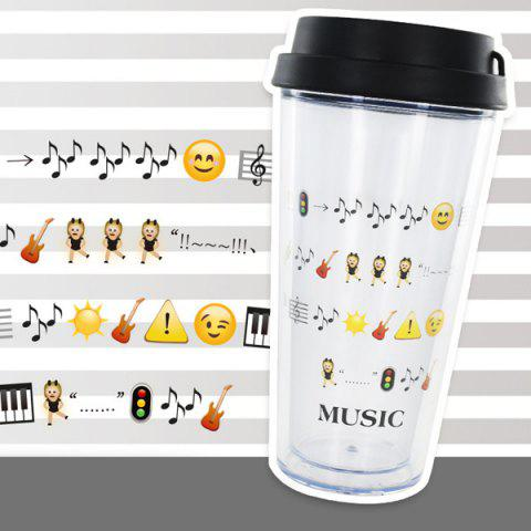 Store Creative Cartoon Expression Double Leakproof Cover Cup With Straw