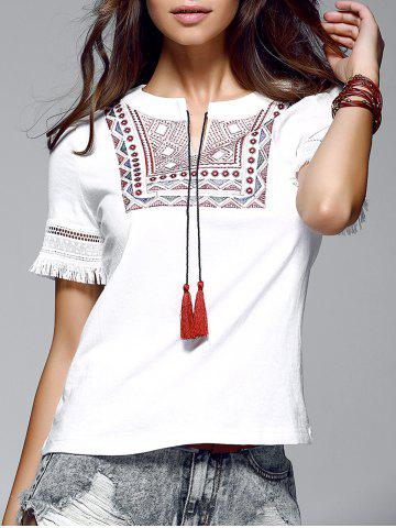 Hot Ethnic Women's Short Sleeve Fringed Linen Blouse
