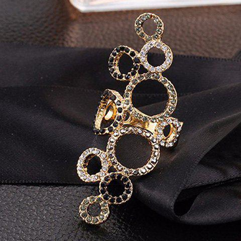 Latest Gorgeous Emboss Rhinestone Beads Circle Ring For Women