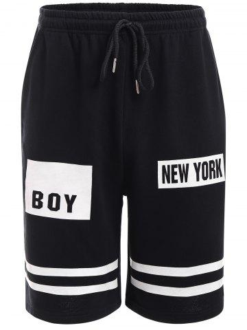 Fancy BoyNewYork Stripes Pattern Lace-Up Shorts BLACK L