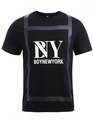 Affordable BoyNewYork Special Fabric Spliced Letters Pattern T-Shirt